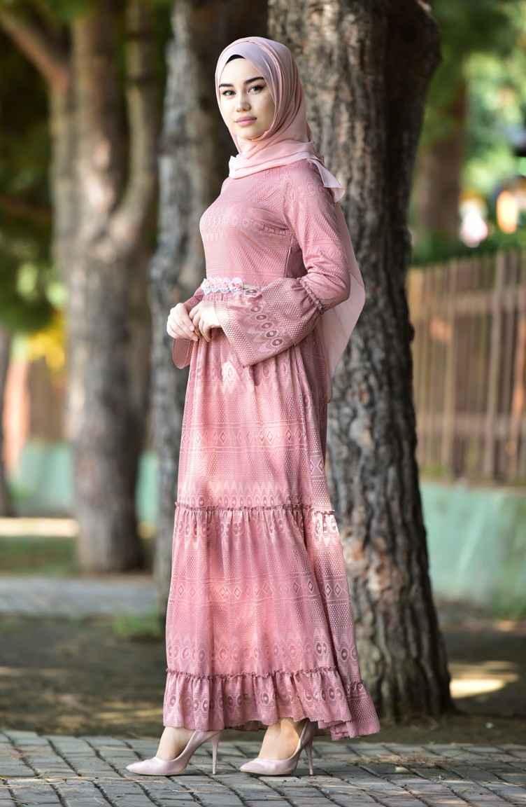 En Şık Sefamerve Dantelli Tesettür Elbise Modelleri
