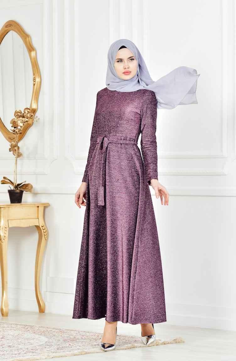 En Şık Sefamerve Tesettür Simli Abiye Elbise Modelleri