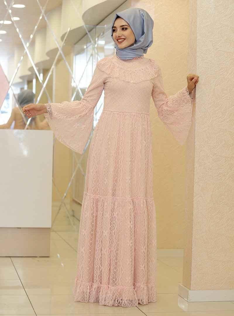 En Güzel Gamze Özkul Dantelli Tesettür Elbise Modelleri