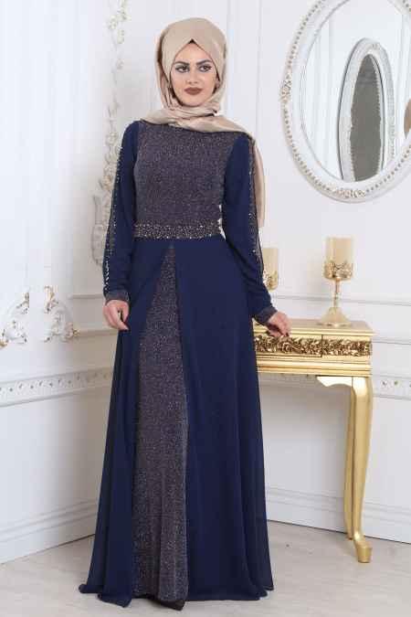 En Güzel Tesettür İsland Simli Abiye Elbise Modelleri