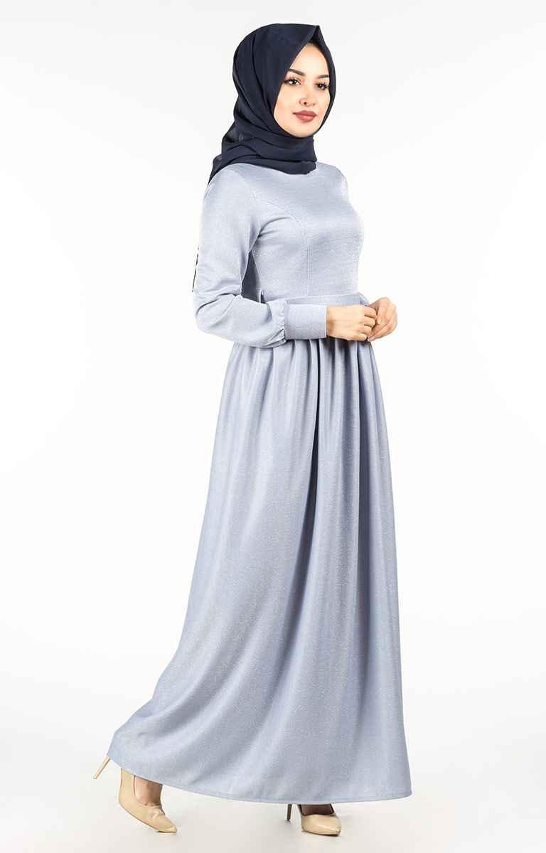En Güzel Tesettür Pazarı Simli Elbise Modelleri