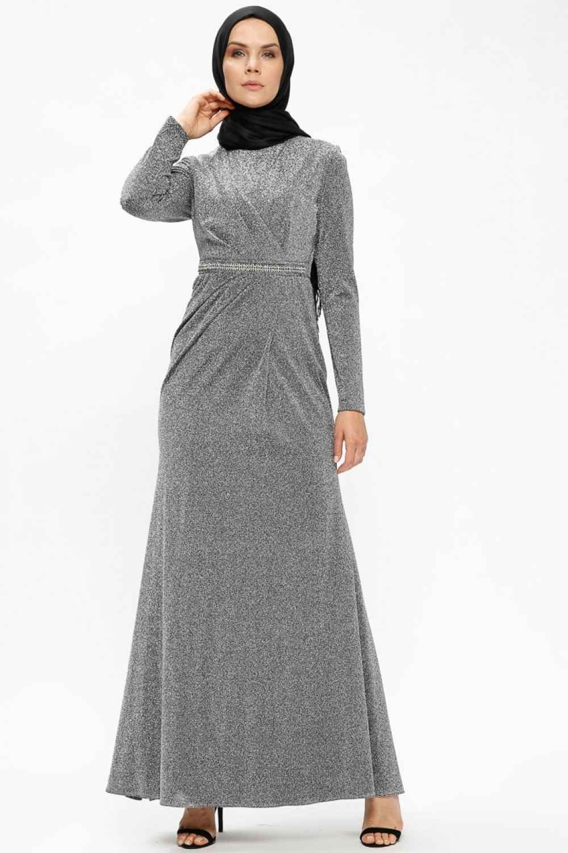 En Güzel Tesettür Puane Simli Abiye Elbise Modelleri