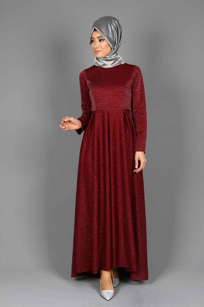 Eymina Tesettür Simli Abiye Elbise Modelleri