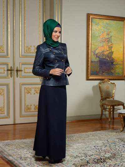 Klasik Tesettür Deri Kıyafet Kombinleri