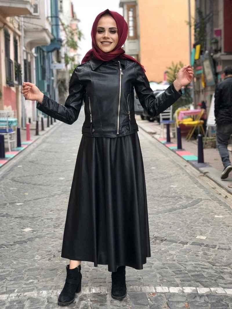 ModaOnur Tesettür Deri Kıyafet Kombinleri