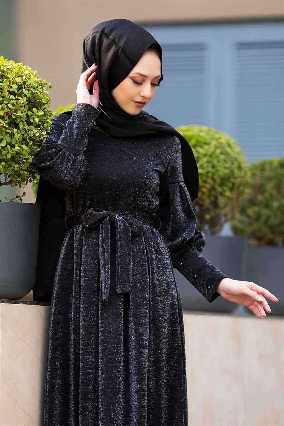 ModaSima Simli Tesettür Elbise Modelleri