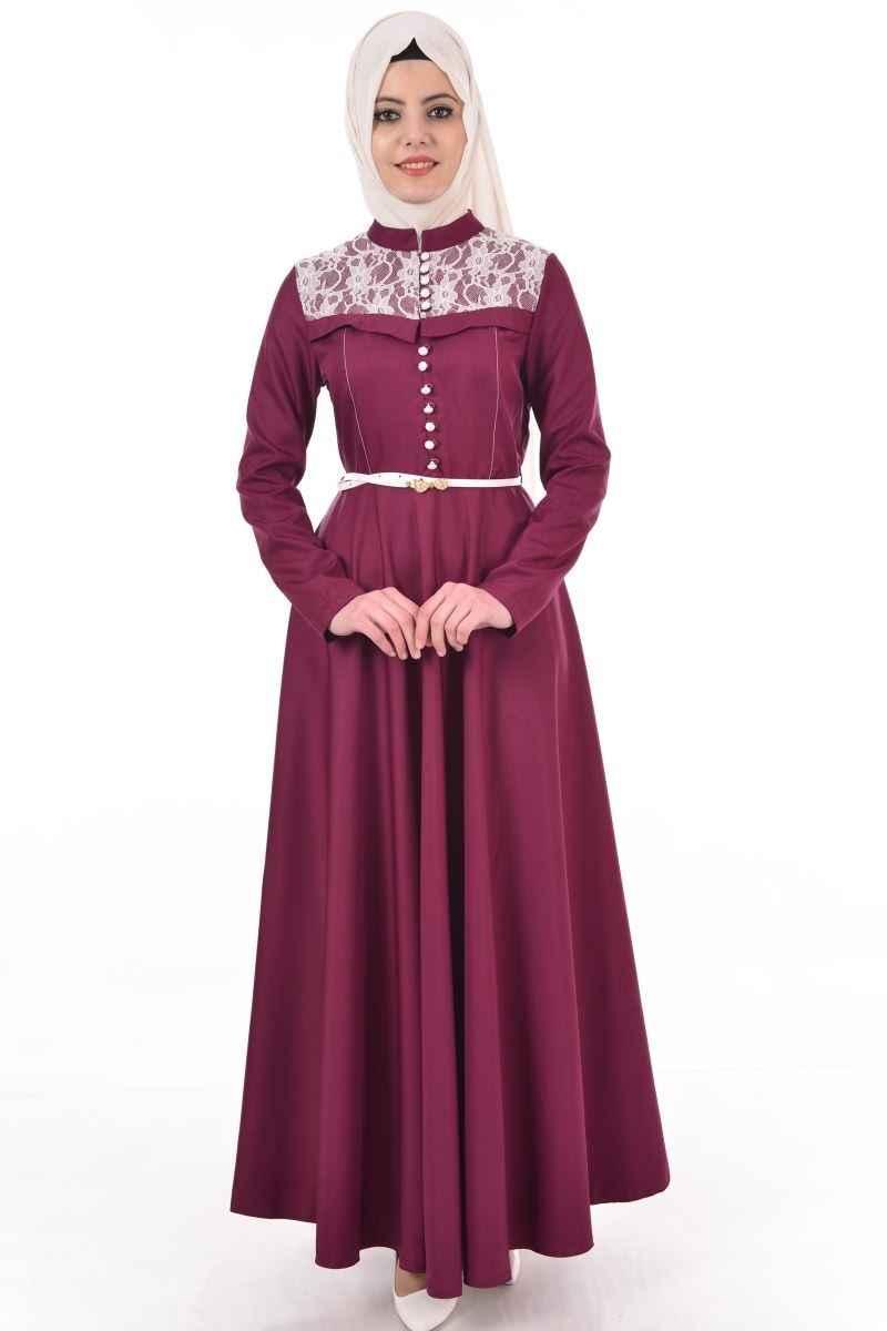 Modamerve Şık Dantelli Tesettür Elbise Modelleri
