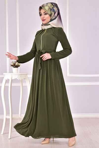 2f8529d9708a3 Modamerve Şık Tesettür Boydan Elbise Modelleri - Moda Tesettür Giyim