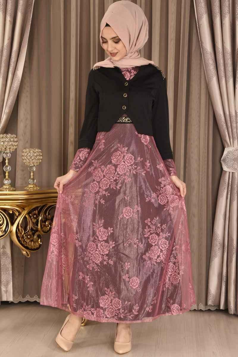 Modamerve Dantelli Tesettür Elbise Modelleri