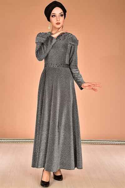 Modamerve Simli Tesettür Elbise Modelleri