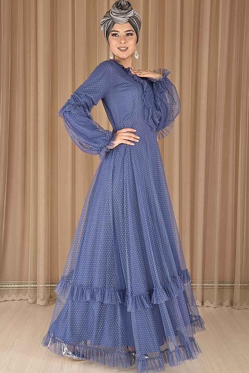 Modamerve Tül Detaylı Tesettür Abiye Elbise Modelleri