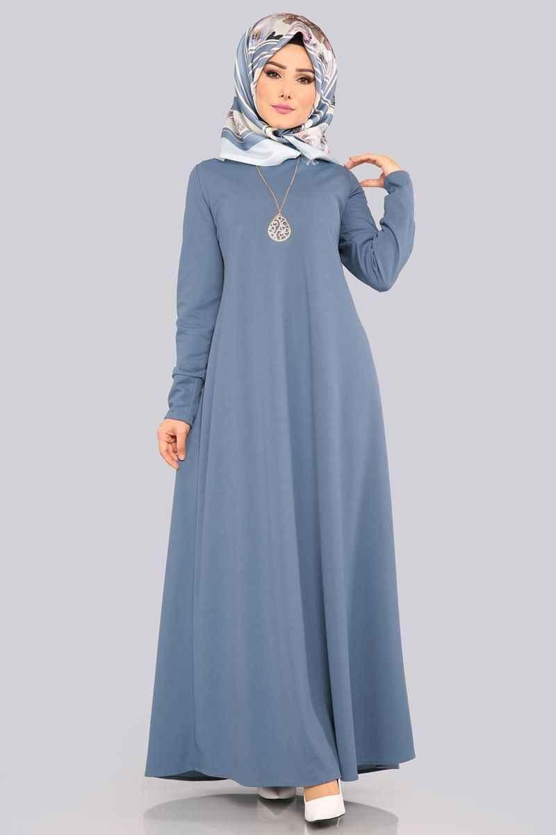 Modaselvim Kolyeli Tesettür Boydan Elbise Modelleri