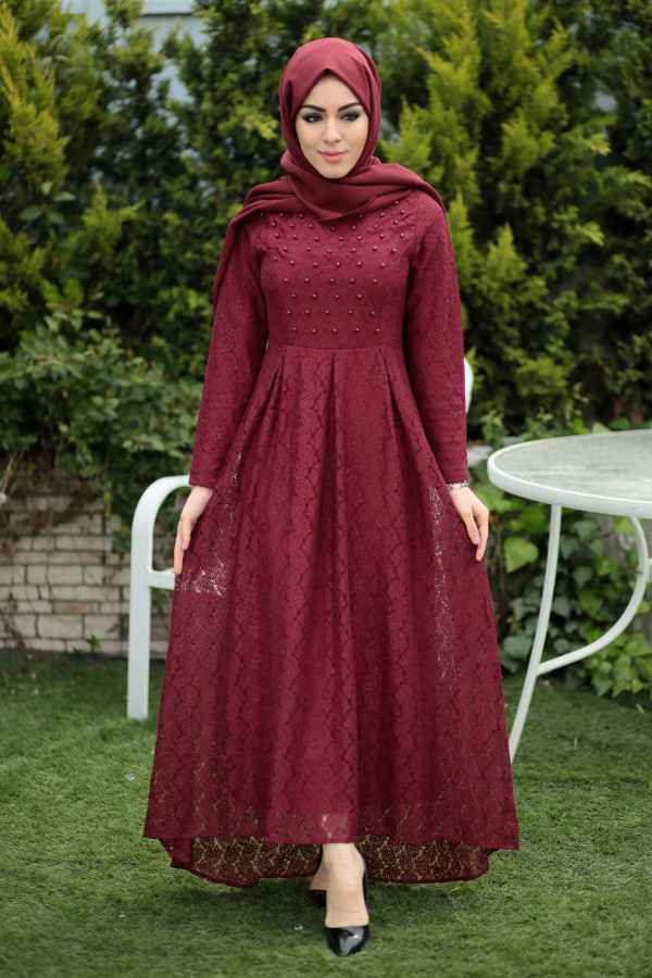 Modasena Dantelli Tesettür Elbise Modelleri