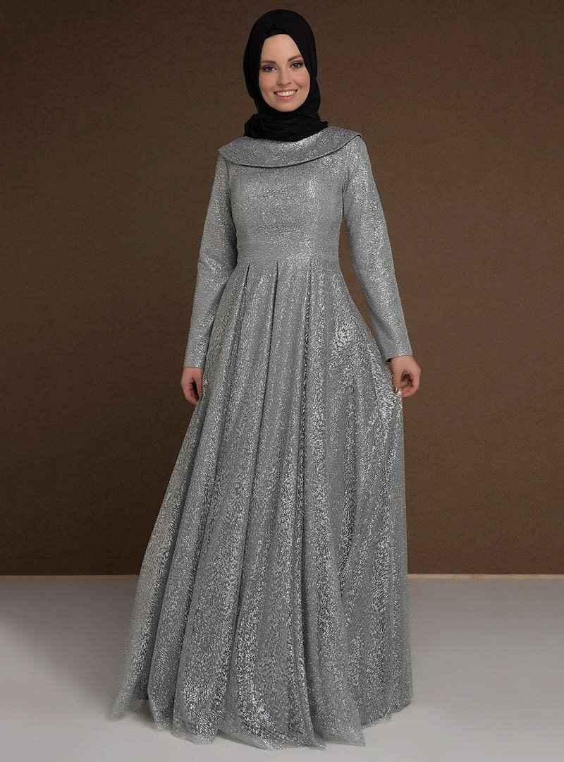 Modaysa Tesettür Simli Abiye Elbise Modelleri