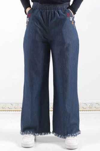 Nakışlı Tesettür Bol Pantolon Modelleri
