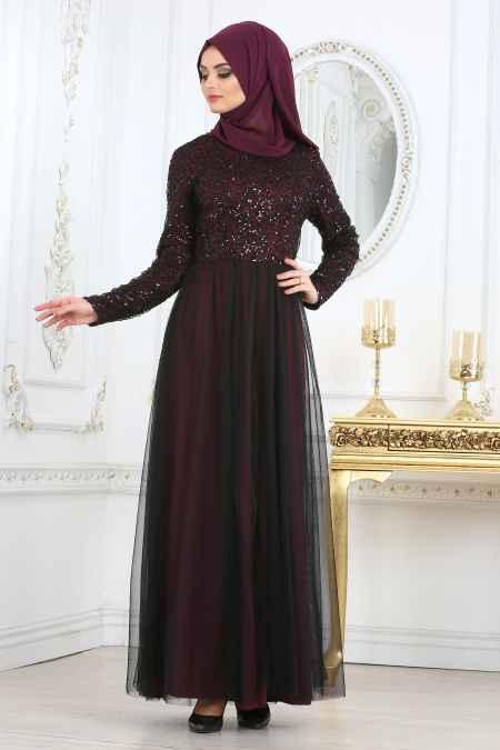 Nayla Collection Tül Detaylı Tesettür Abiye Elbise Modelleri