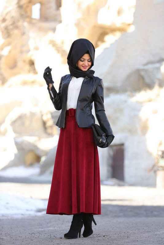 Pınar Şems Tesettür Deri Ceket Kombinleri