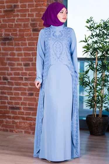 Patırtı Taşlı Tesettür Abiye Elbise Modelleri