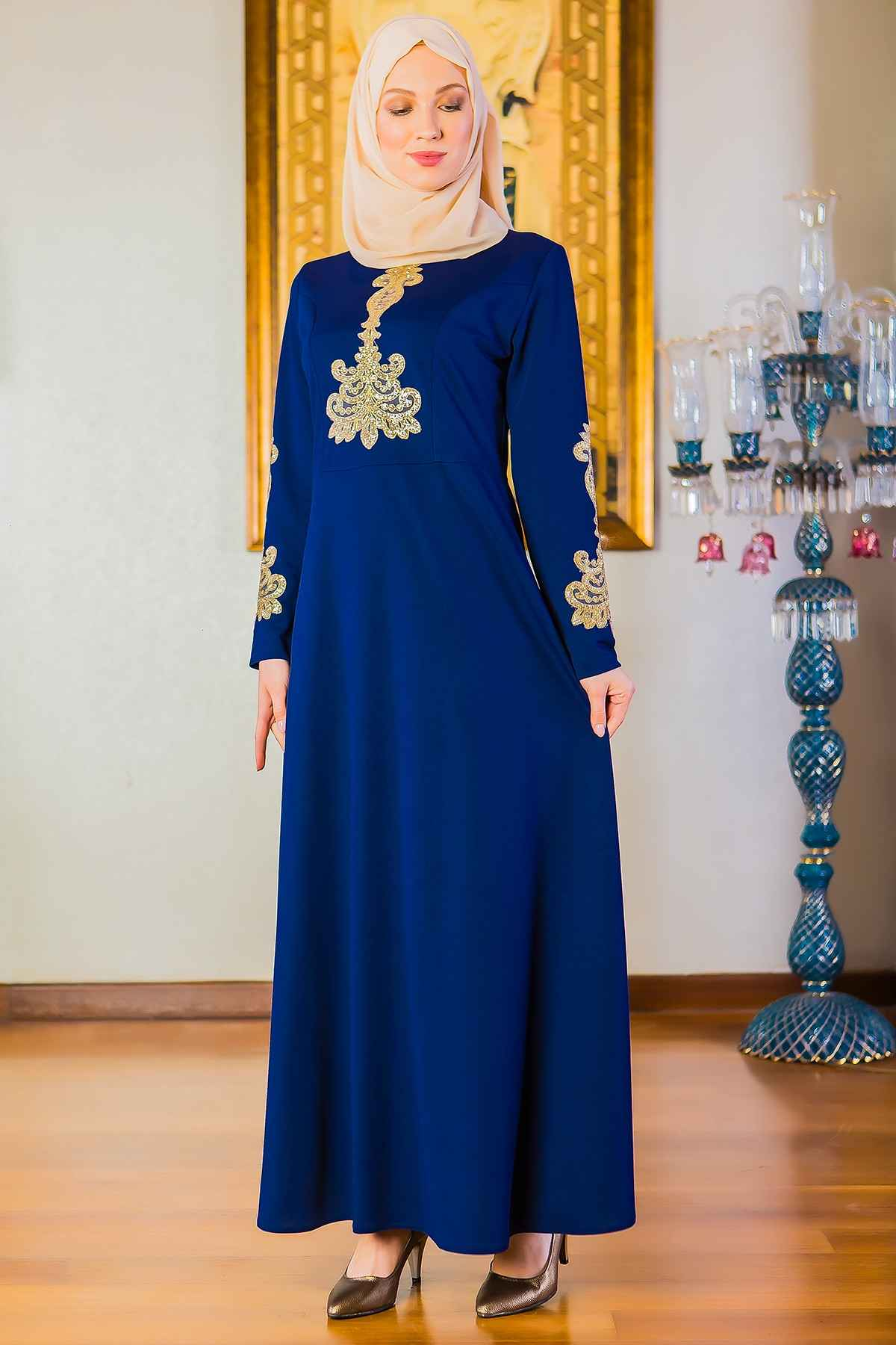 Patırtı Tesettür Dantel Baskılı Abiye Elbise Modelleri