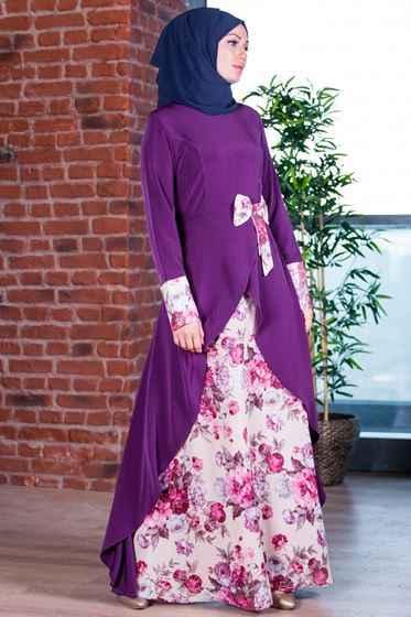 Patırtı Tesettür Fiyonklu Abiye Elbise Modelleri