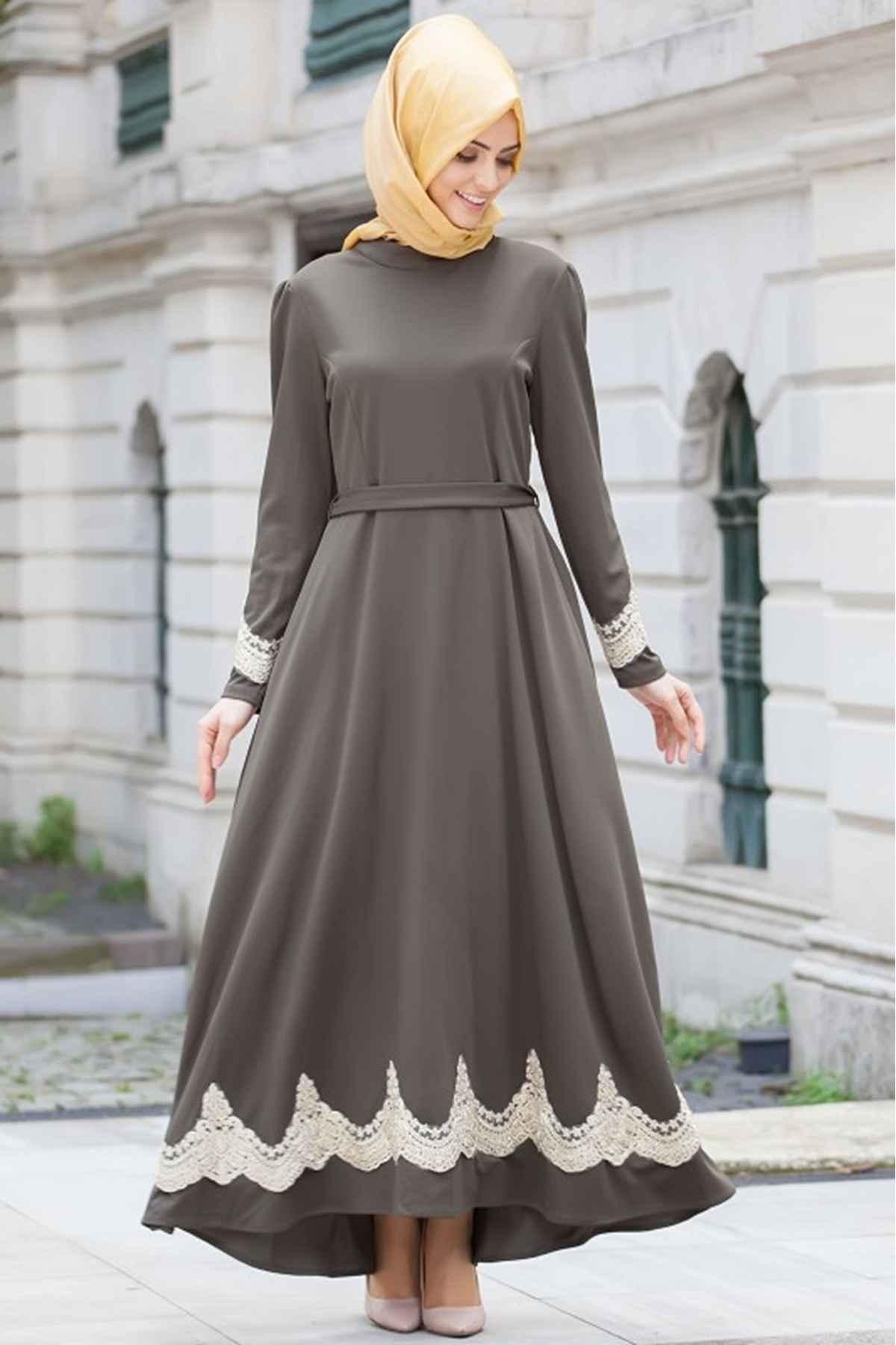 Patırtı Tesettür Güpürlü Abiye Elbise Modelleri
