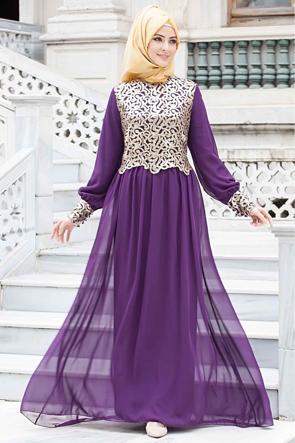Pul Payetli Patırtı Tesettür Abiye Elbise Modelleri