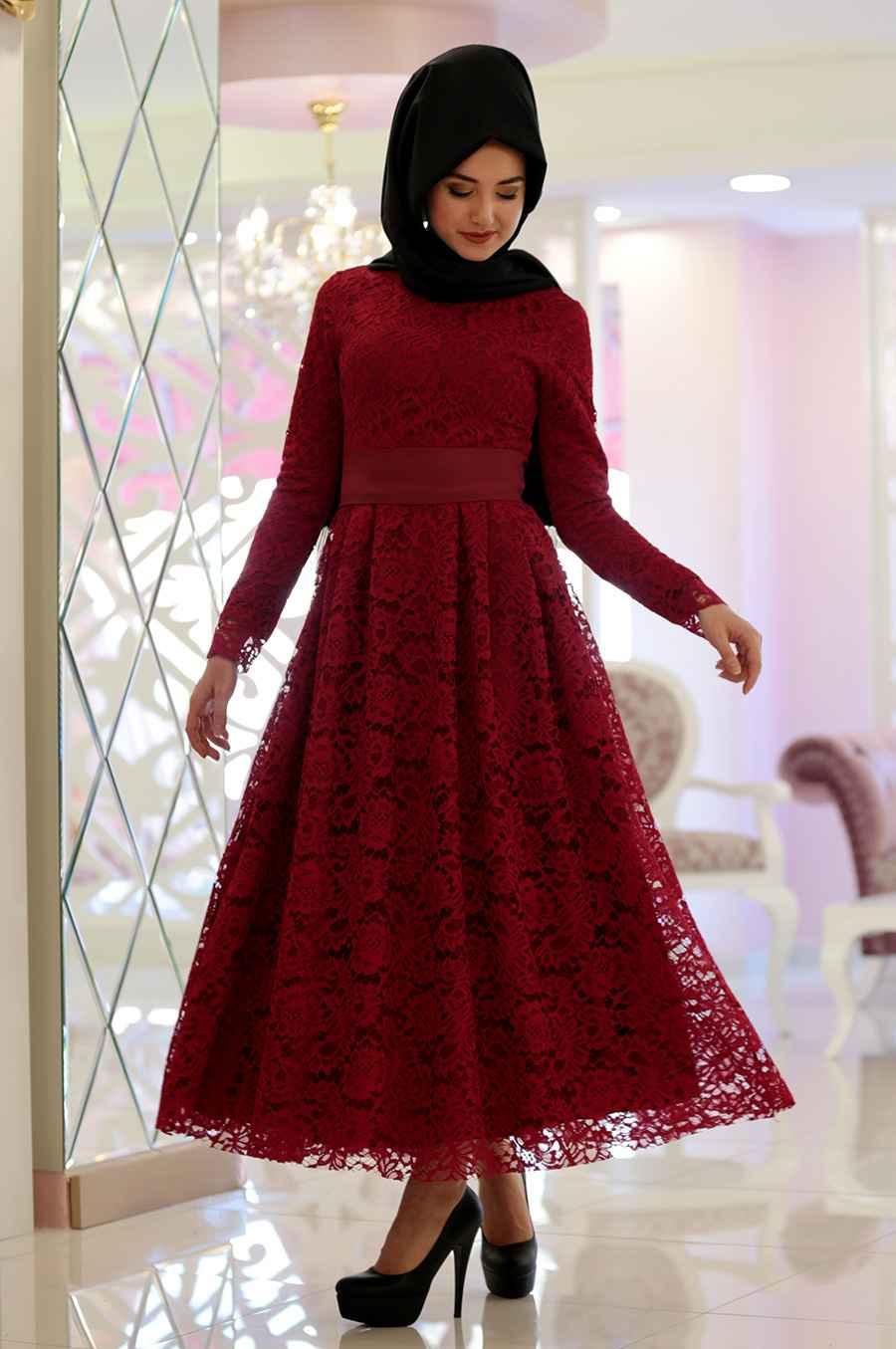 Rana Dantelli Tesettür Elbise Modelleri