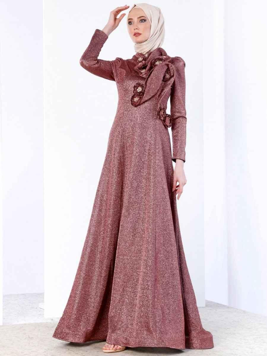 Tesettür Simli Abiye Elbise Modelleri