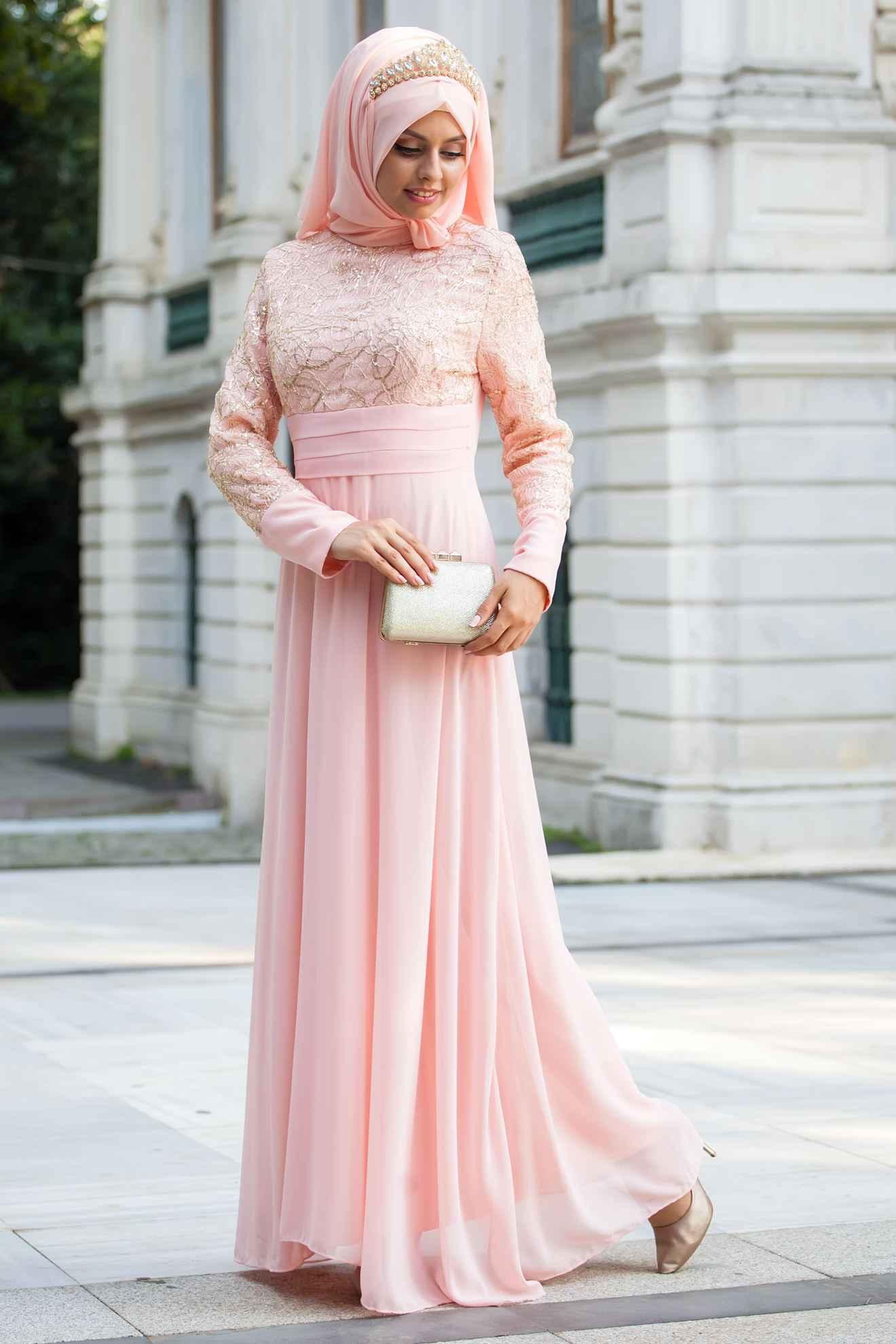 Sedanur Tül Detaylı Tesettür Abiye Elbise Modelleri