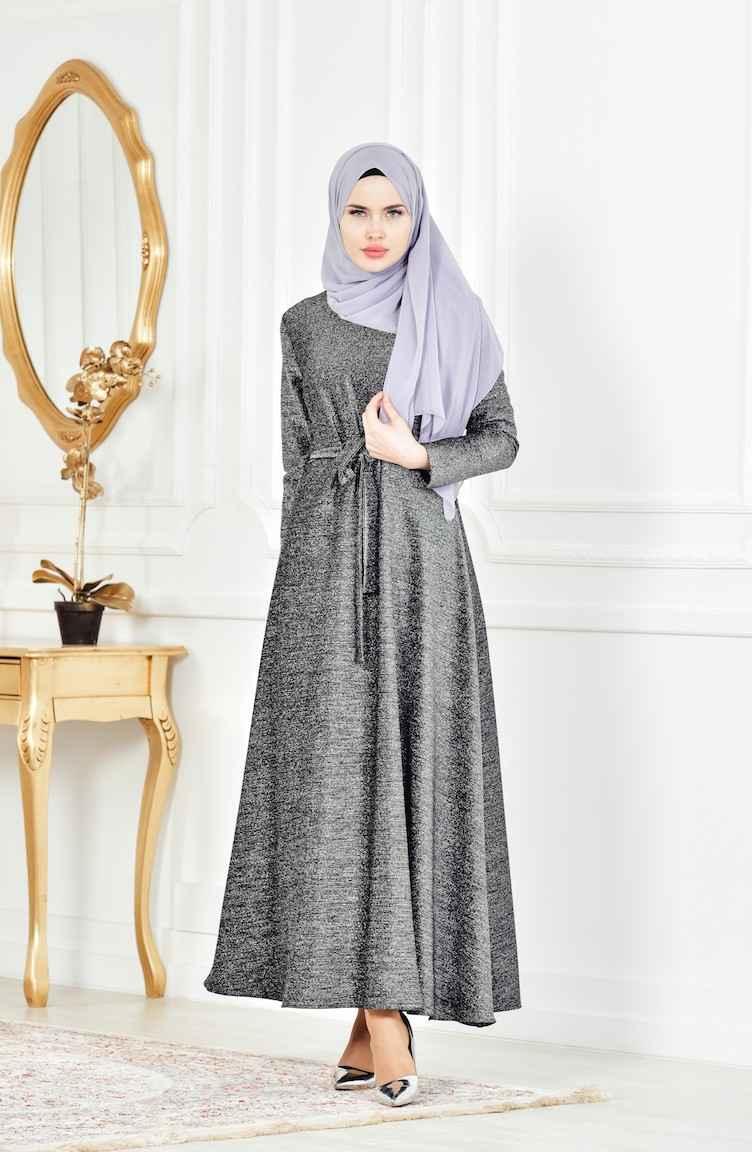 Sefamerve Şık Tesettür Simli Abiye Elbise Modelleri