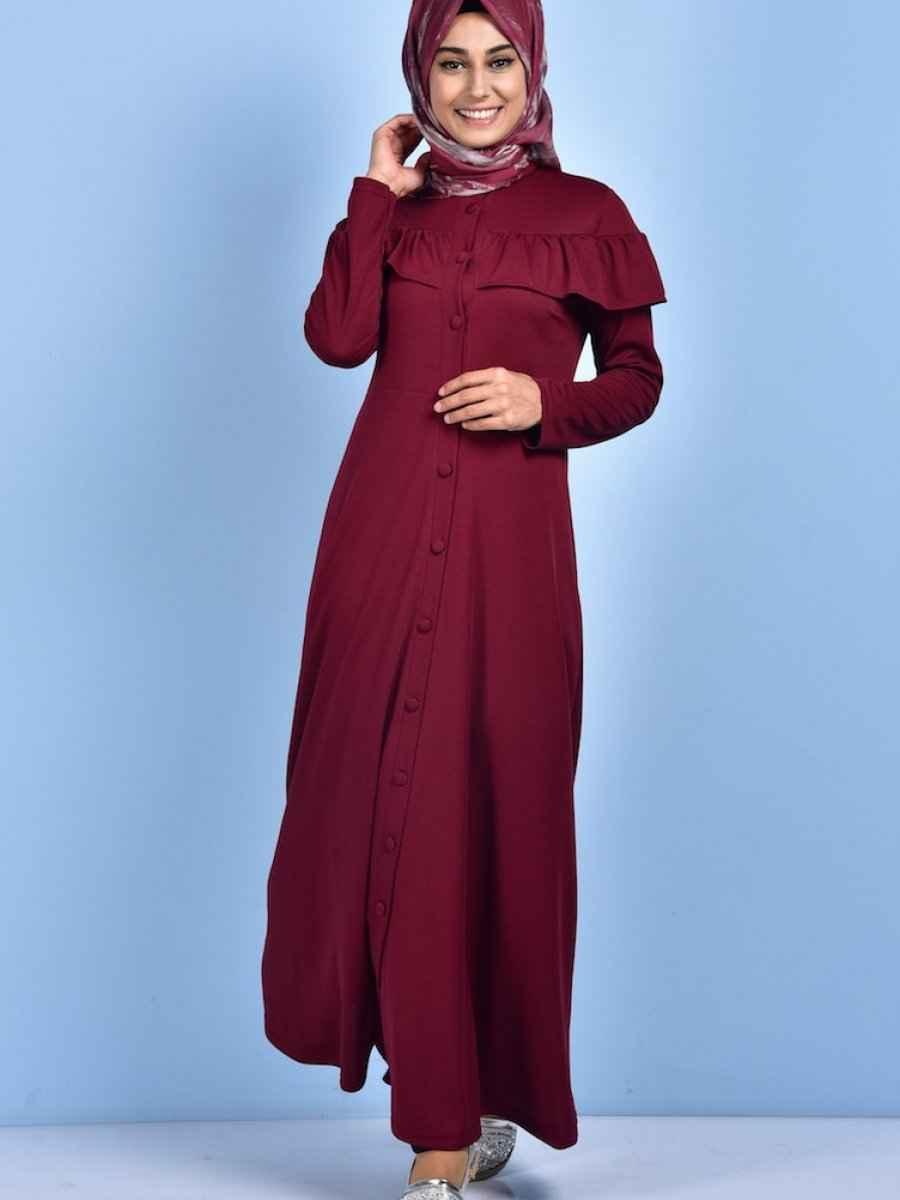 Sefamerve Fırfırlı Tesettür Uzun Tunik Modelleri