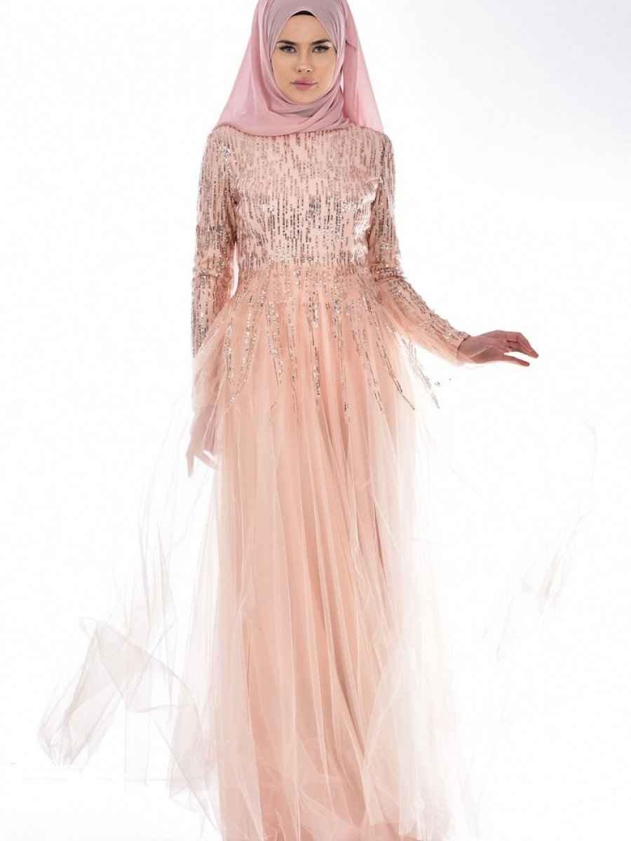 Sefamerve Tül Detaylı Payetli Tesettür Abiye Elbise Modelleri
