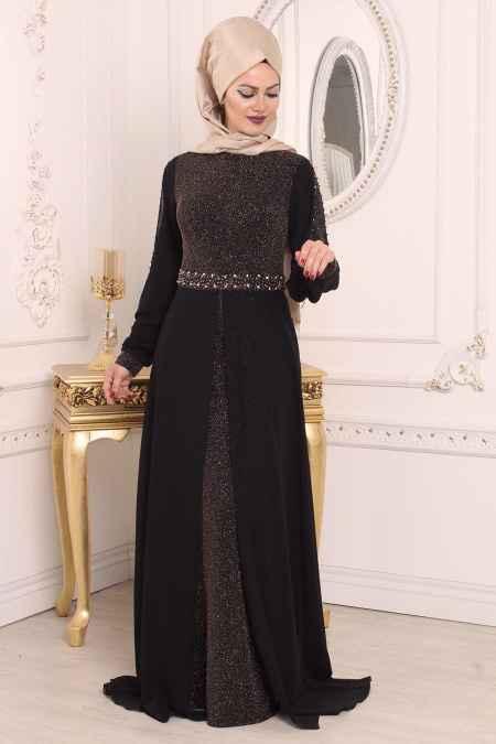 Tesettür İsland Simli Abiye Elbise Modelleri