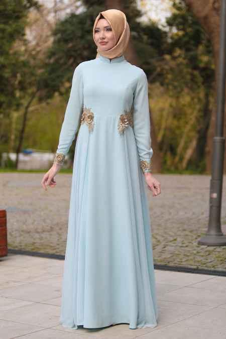 Tesettür İsland Tül Detaylı Abiye Elbise Modelleri