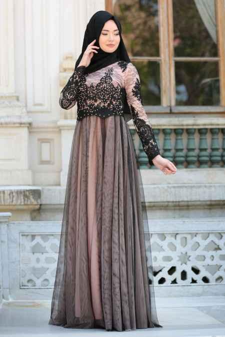 Tesettür İsland Tül Detaylı Somon Abiye Elbise Modelleri