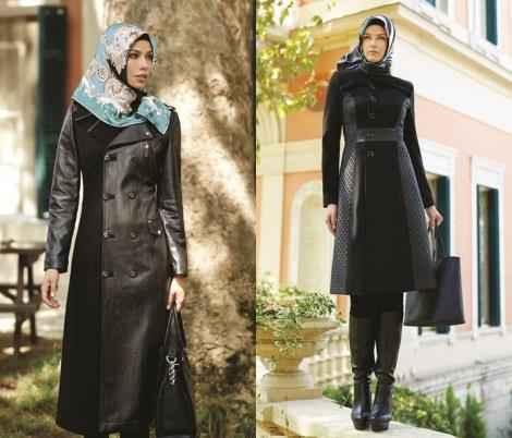 Tesettür Deri Dış Giyim Kombinleri
