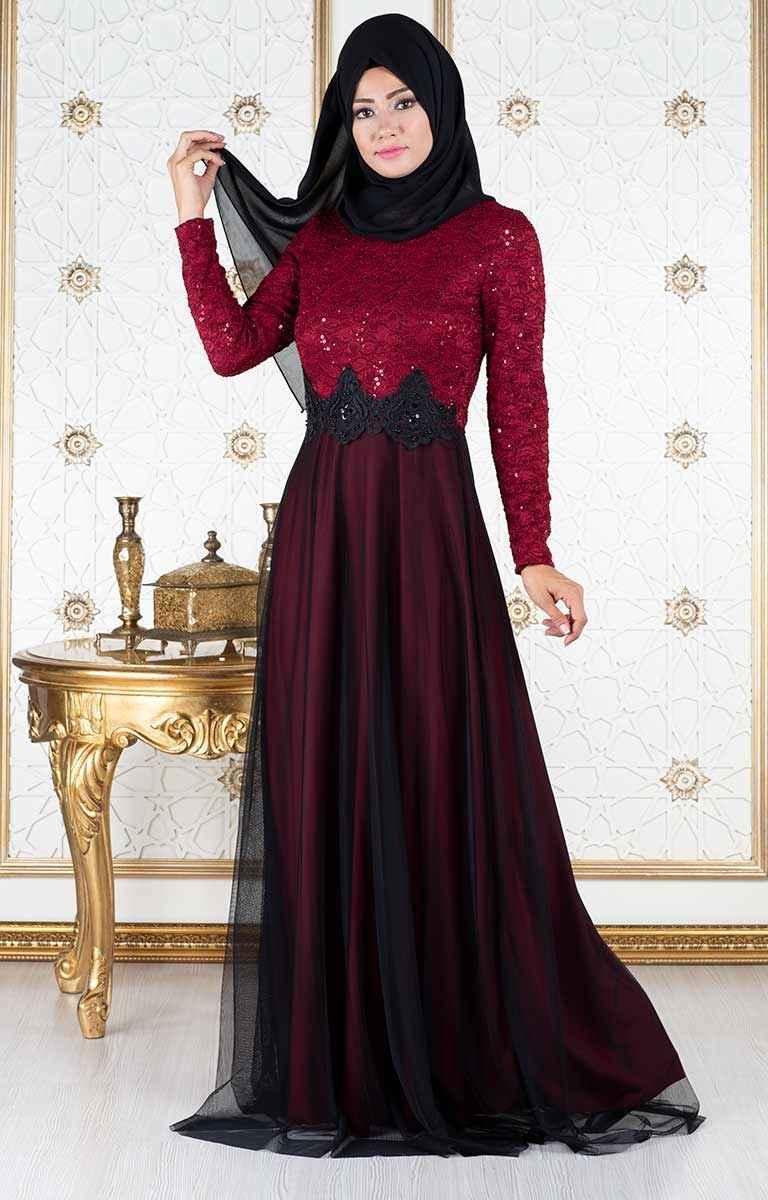 Tesettür Pazarı Dantelli Elbise Modelleri