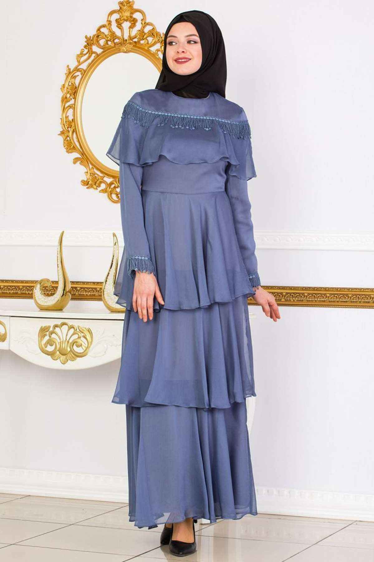 İfondi Fırfırlı Tesettür Elbise Modelleri