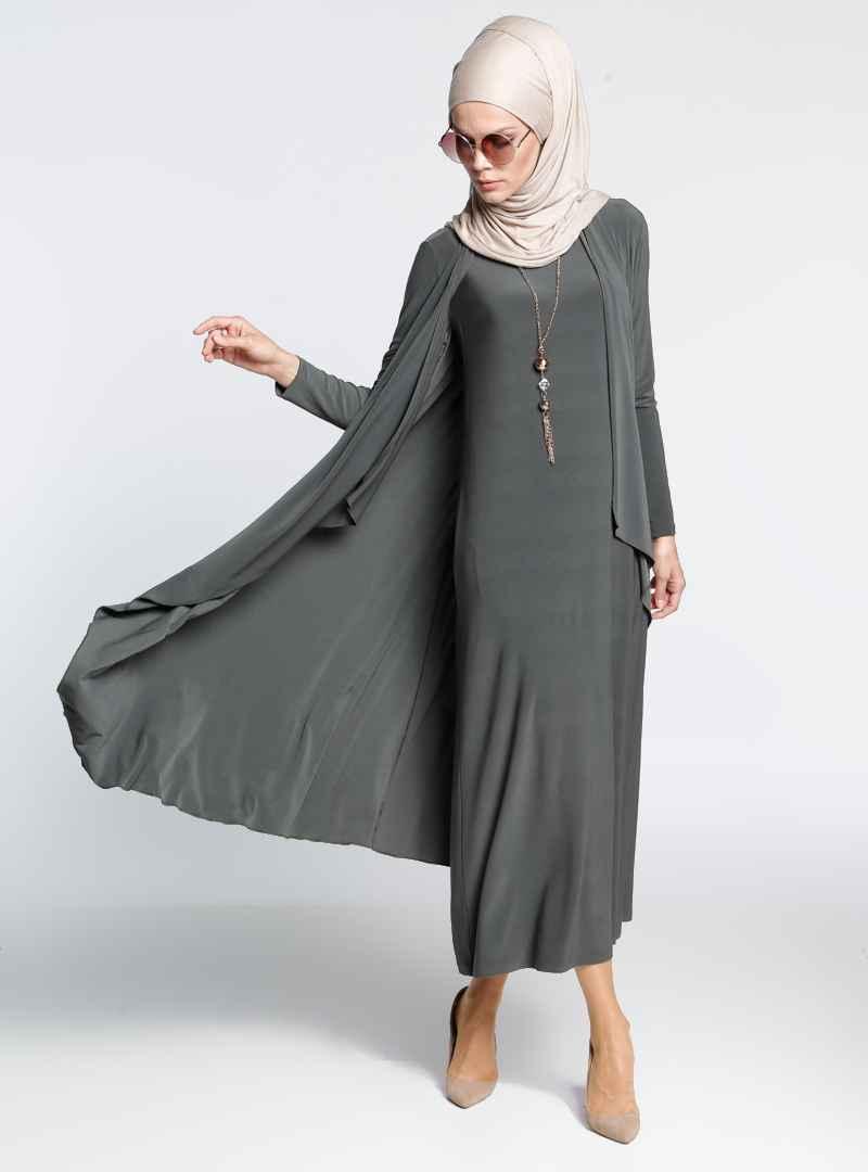 İnşirah Şık Elbiseli Tesettür Takım Modelleri
