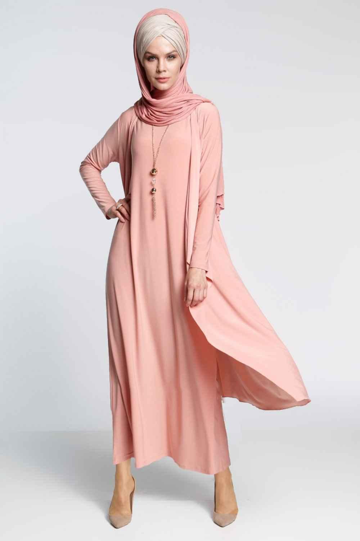İnşirah Somon Rengi Elbiseli Tesettür Takım Modelleri
