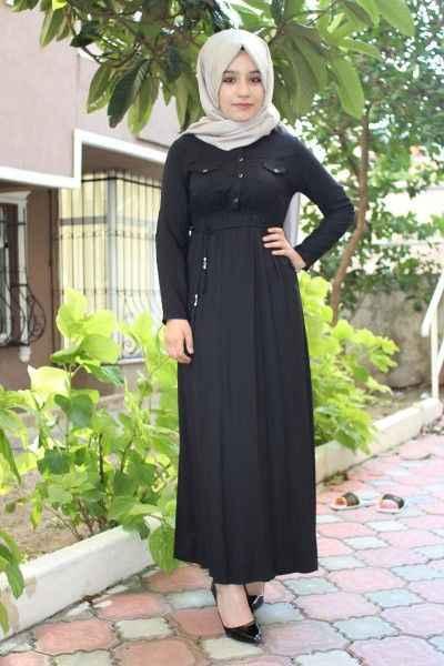 Şık ve Güzel Büzgülü Tesettür Elbise Modelleri