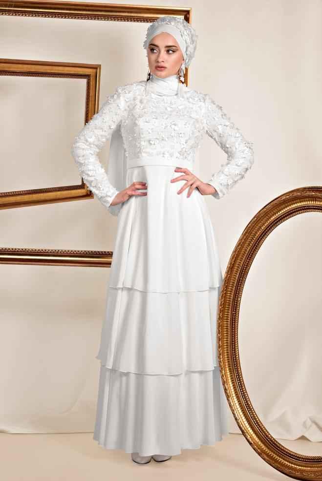 Alvina Üç Boyutlu Beyaz Tesettür Abiye Modelleri