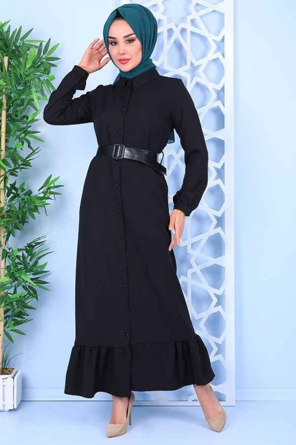 Asilmoda Kemerli Fırfırlı Tesettür Elbise Modelleri