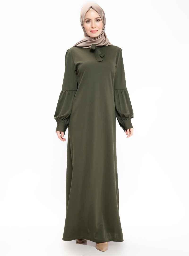 Bürün Fular Detaylı Tesettür Elbise Modelleri