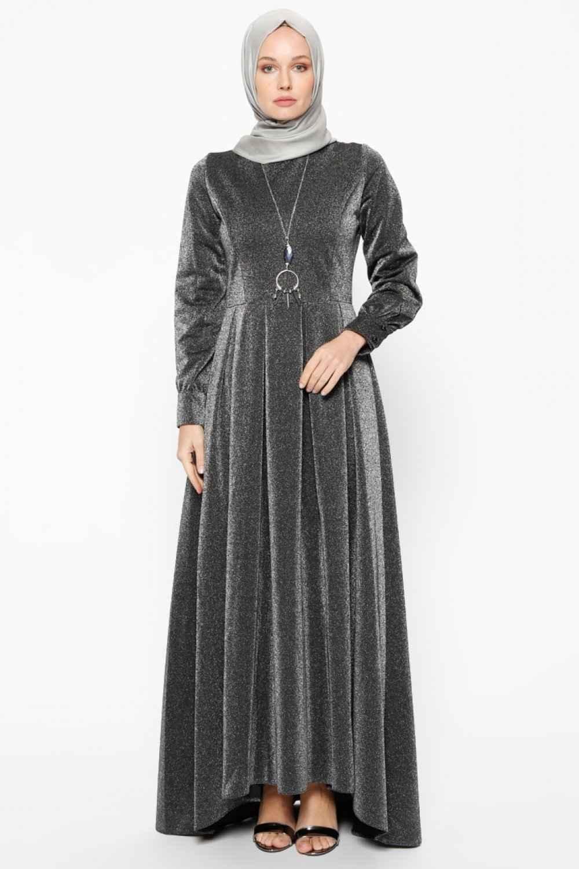 Bürün Simli Şık Tesettür Elbise Modelleri