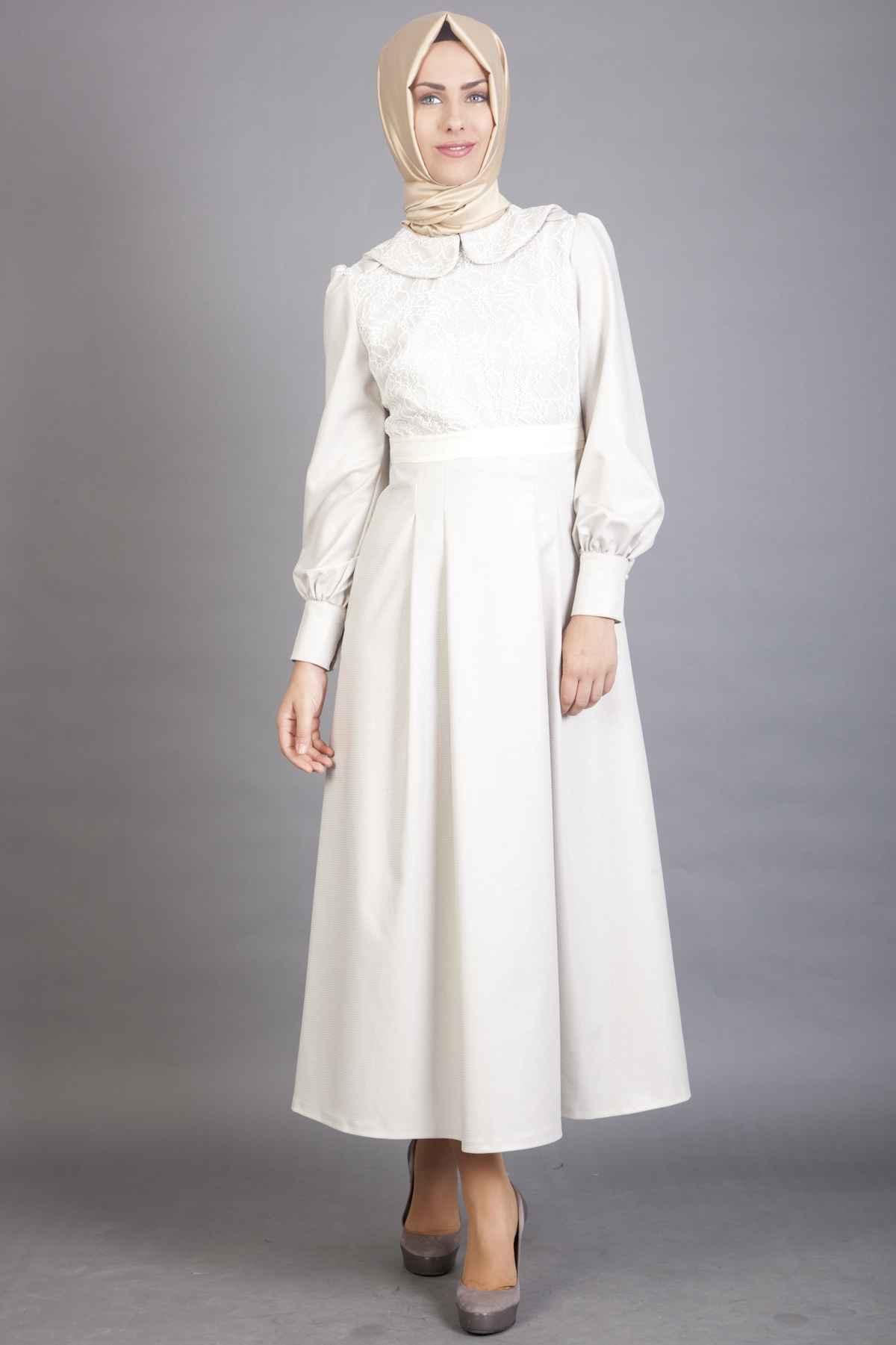 Bebe Yaka Modern Tesettür Elbise Modelleri
