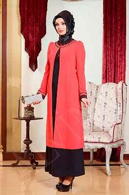 En Şık Alvina Elbiseli Tesettür Takım Modelleri