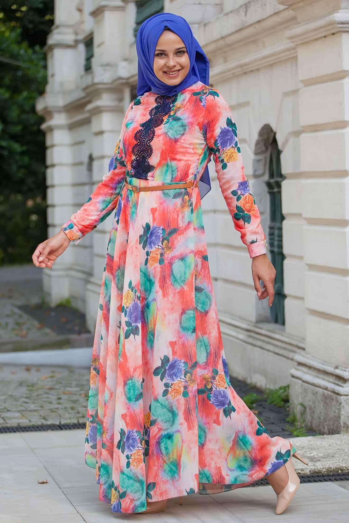 En Güzel Sedanur Desenli Tesettür Elbise Modelleri