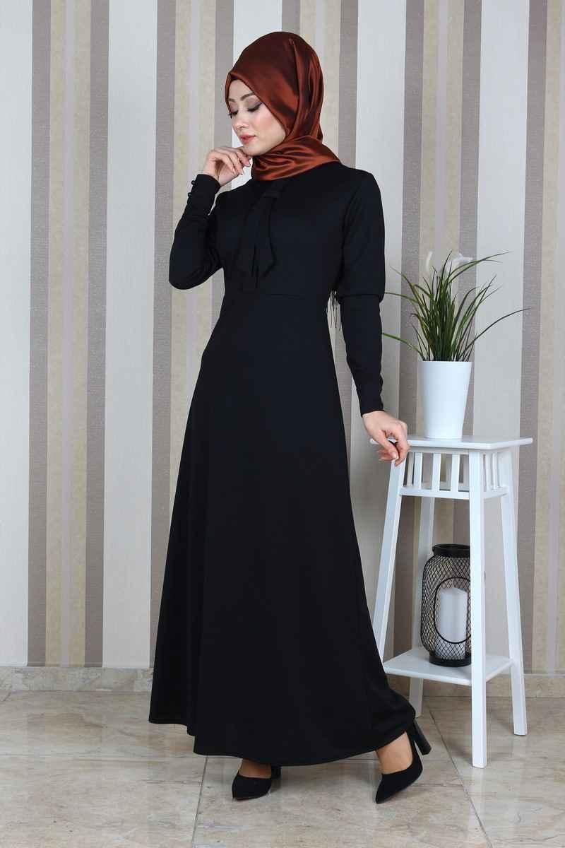Eymina Fular Detaylı Tesettür Elbise Modelleri