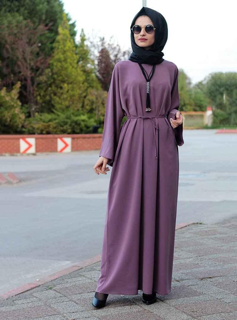 Gabra Tesettür Mürdüm Renk Ferace Elbise Modelleri